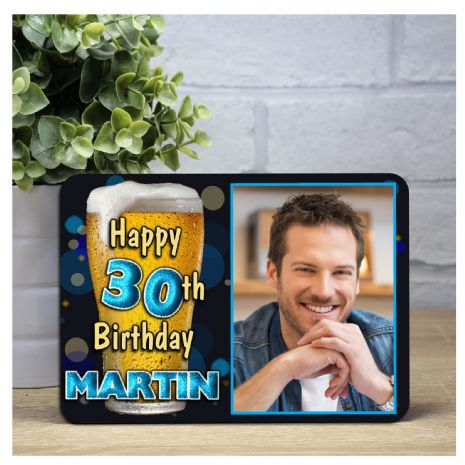 Personalised Happy Birthday Wood Photo Frame F46 - Any Age Mens Beer Lager